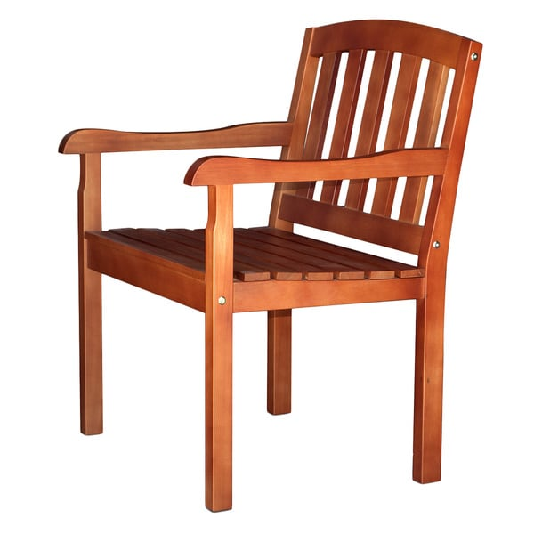 Somette Mayville Eucalyptus Wood Brown Patio Chair (Set of 2)