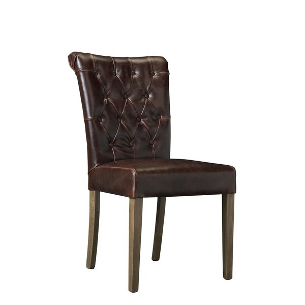 somette gresham chocolate leather hand tufted dining room