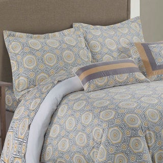 Tribeca Living 300 Thread Count Maldives 5-piece Cotton Grey/ Yellow Medallion Duvet Cover Set