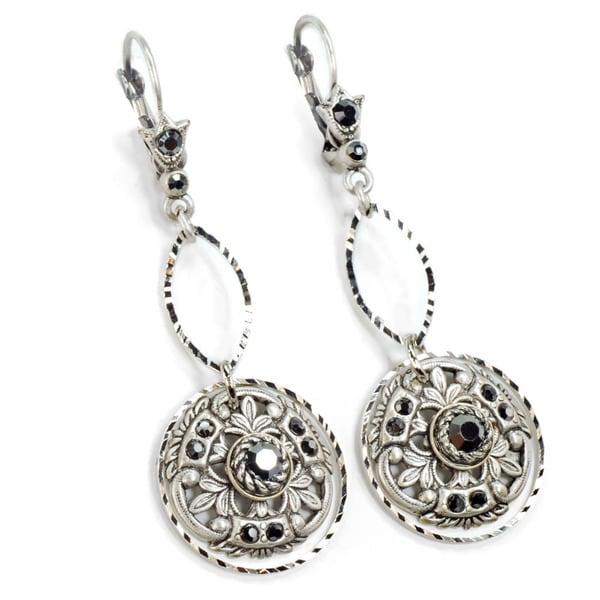 Sweet Romance Pewter Window Medallion Earrings