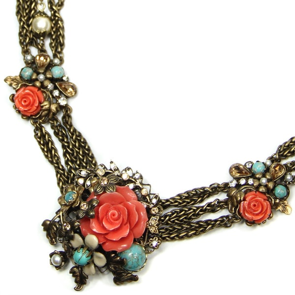 Sweet Romance Pewter Coral and Turquoise Torsade with Detachable Clip