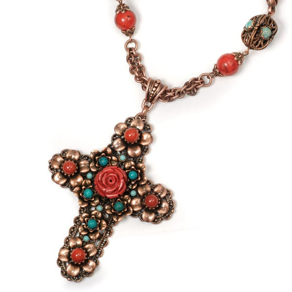 Sweet Romance Pewter Coral Canyon Cross Necklace