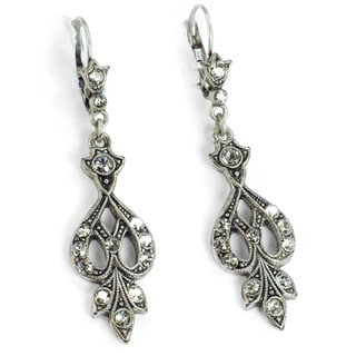 Sweet Romance Pewter Earth and Water Crystal Earrings