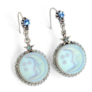 Sweet Romance Pewter Irridescent Silvery Moon Earrings