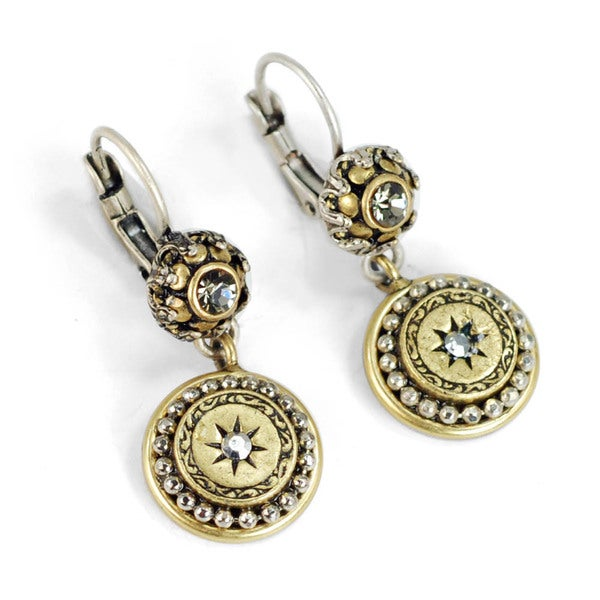 Sweet Romance Pewter Mini Medallion Victorian Style Earrings