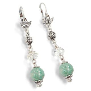 Sweet Romance Pewter Aventurine Bead Earrings