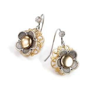 Sweet Romance Pewter 1960s Flower Power Earrings