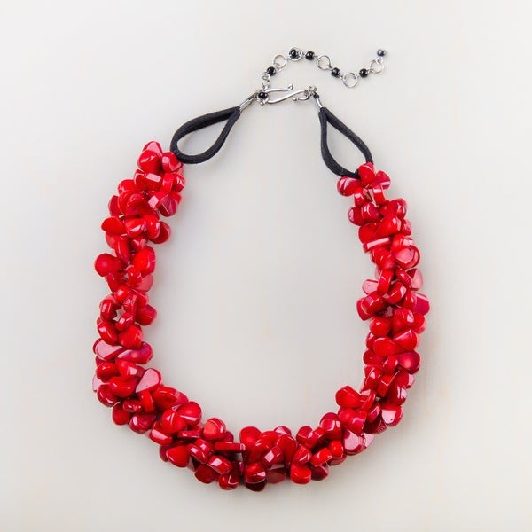 Tabitha Red Cluster Coral Necklace