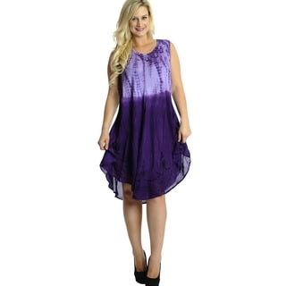 La Leela RAYON Beach Dress Women Cover up CASUAL Hand Tie Dye Purple Printed
