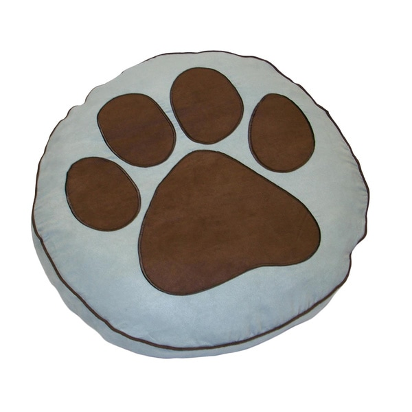 Powder with Chocolate Paw Print Small Pet Bed