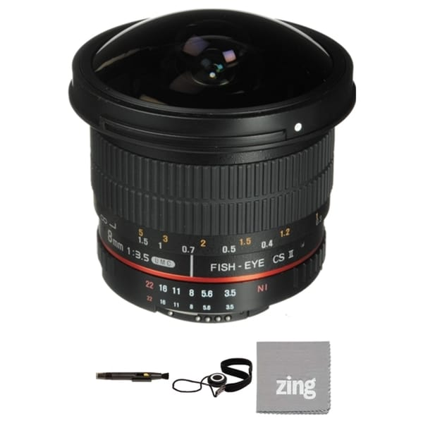 Rokinon 8mm f/3.5 HD Fisheye Lens for Nikon Bundle