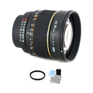 Rokinon 85mm f/1.4 Lens for Nikon w/Focus Confirm Chip + UV & Cleaning Bundle