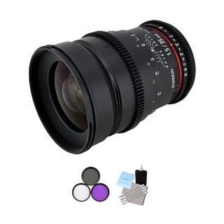 Rokinon 35mm T/1.5 Cine MF Wide Angle Lens + UV Kit & Cleaning Bundle