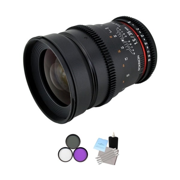 Rokinon 35mm T/1.5 Cine MF Wide Angle Lens + UV Kit & Cleaning Bundle