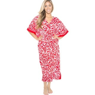 La Leela Women's Likre V-neck Long Caftan