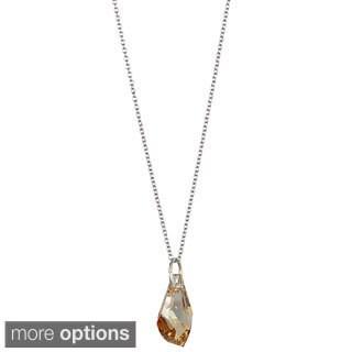 Sterling Silver Austrian Crystal Polygon Drop Necklace