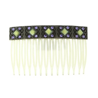 Blacktone Purple Crystal and Blue Iris Mother of Pearl Hair Comb