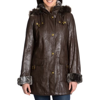 Nuage Women's Faux Fur Trim Leatherette Napa Coat