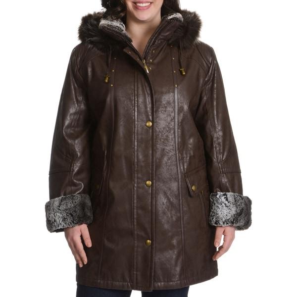 Nuage Plus Size Faux Fur Trim Leatherette Napa Coat
