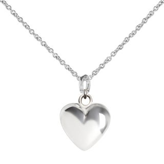 Sterling Silver Chubby Heart Pendant Necklace