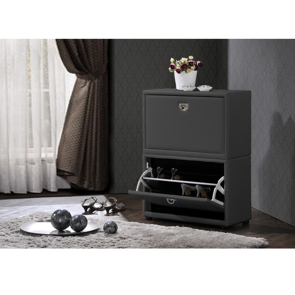 Petito Contemporary 2-Tier Grey Leather Upholstered Shoe Cabinet