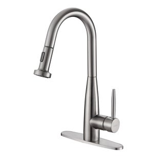 Ruvati RVF1229B1ST Pullout Spray Kitchen Faucet with Deck Plate - Stainless Steel