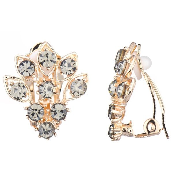Goldtone Grey Cluster Clip-on Earrings
