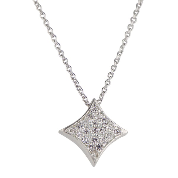 Sterling Silver Sterling Silver Cubic Zirconia Pave Charm Necklace