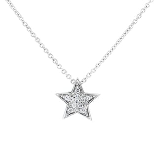Silvertone Petite Pave Star Necklace