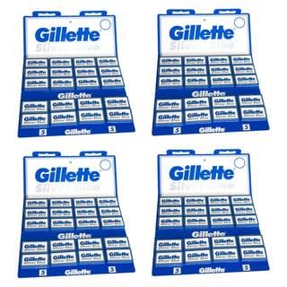 Gillette 100 Silver Blue Double Edge Razor Blades (Pack of 4)
