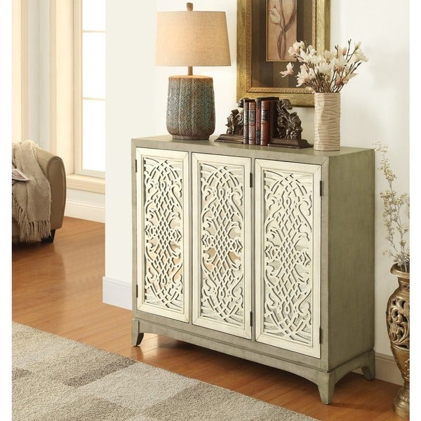 Treasure Trove Accents Lake Forest Ivory and Grey Three Door Credenza