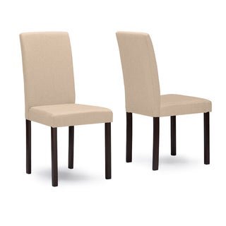 Set of 2 Andrew Beige Fabric Upholstered Solid Wood Dining Chairs