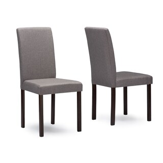 Set of 2 Andrew Grey Fabric Upholstered Solid Wood Dining Chairs