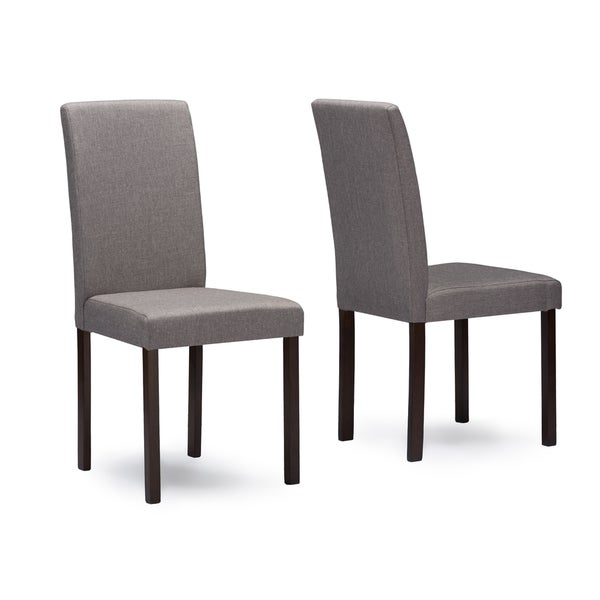 andrew grey fabric upholstered solid wood dining chairs