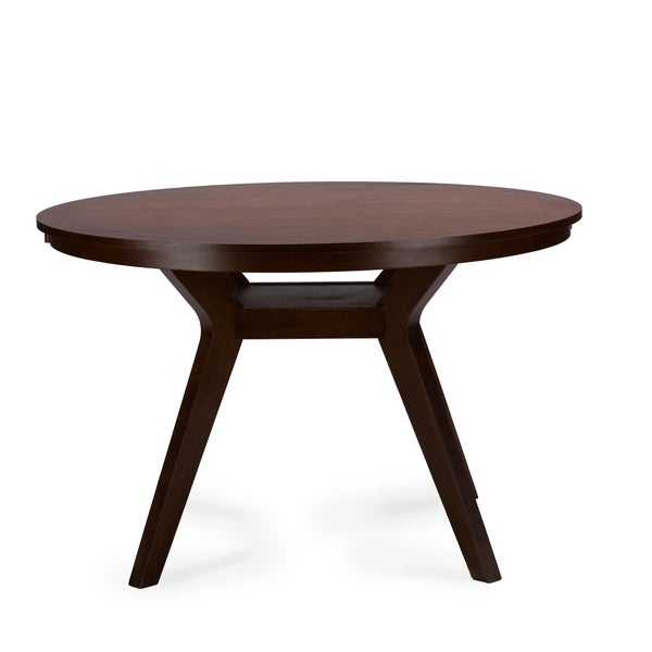 Baxton Studio Montreal Mid Century Dark Walnut Round Wood Dining Table 17299721 Overstock