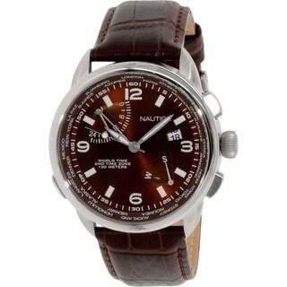 Nautica Men's NAD19509G Brown Leather Analog Quartz Watch