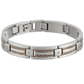 Stainless Steel Two-tone Rose Plated Cubic Zirconia Bracelet