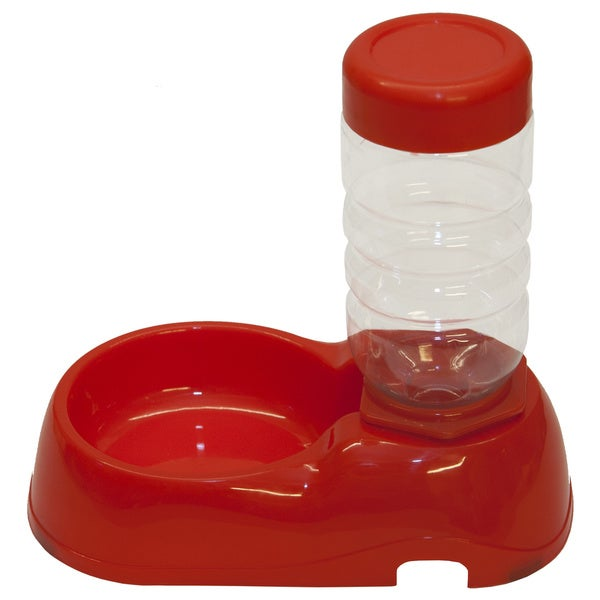 PetBuddy Automatic Dish Water Fountain Red Plastic Bowl and Bottle Pet Food Dispenser