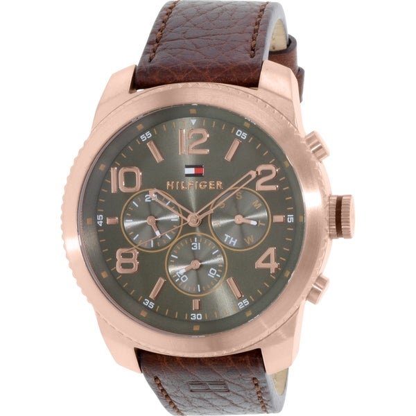 Tommy Hilfiger Men's 1791109 Brown Leather Quartz Watch