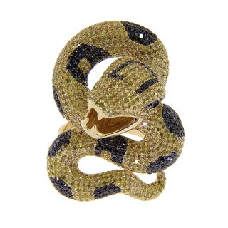 14k Yellow Gold 5 3/8ct TDW Yellow and Black Diamond Snake Ring