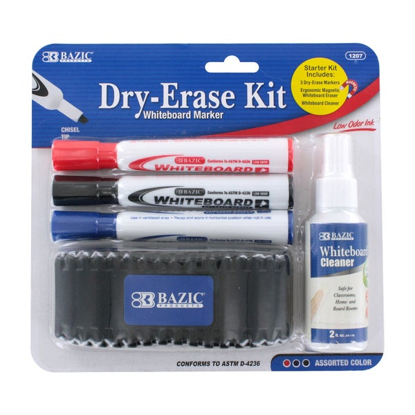 Bazic Low Odor Assorted Color 5-piece Chisel Tip Dry-Erase Whiteboard Marker Kit