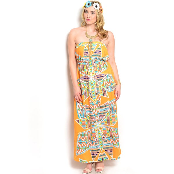 Shop the Trends Orange Print Strapless Maxi Dress