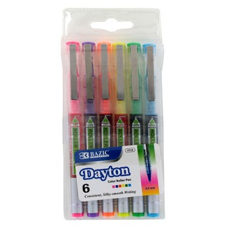 Bazic Dayton Rollerball Pens with Metal Clip 0.5mm Extra Fine Point Assorted Colors (Pack of 6)
