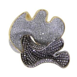 14k Two-tone Gold 3 3/4ct TDW Diamond Flower Ring (G-H, I2-I3)