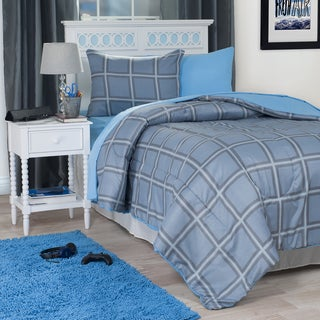 Windsor Home Blue Squared 22-Piece Reversilble Dorm-in-a-Bag Set