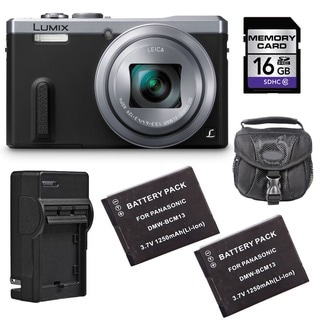 Panasonic Lumix DMC-ZS40 Silver Digital Camera with 2 Batteries and 16GB Card Bundle