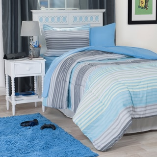 Windsor Home Blue Striped 22-Piece Reversilble Dorm-in-a-Bag Set