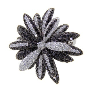 14k White Gold 4 1/2ct TDW White and Black Diamond Flower Ring (G-H, I2-I3)