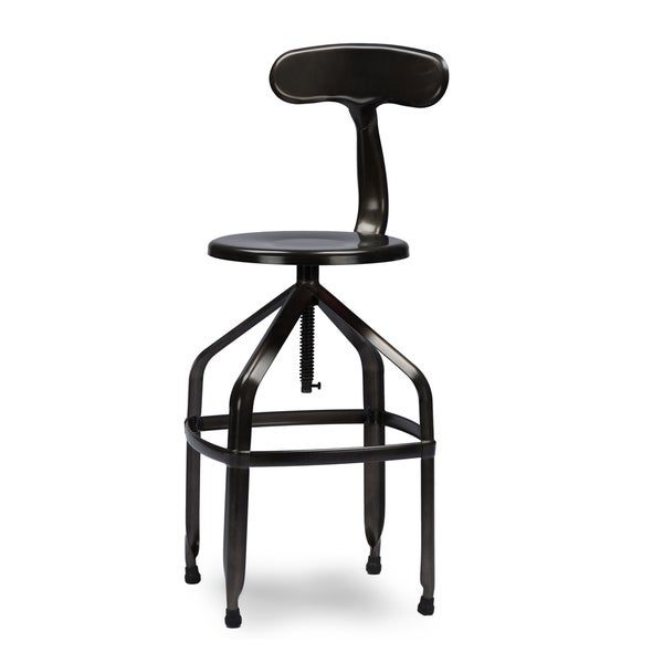 Architect S Industrial Bar Stool With Backrest In Gun
