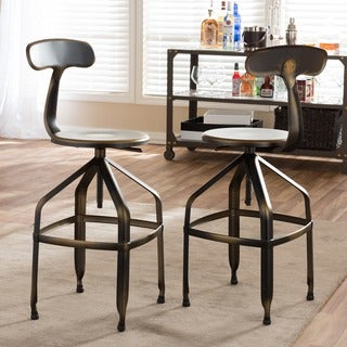 Architect's Industrial Bar Stool with Backrest in Gun Metal